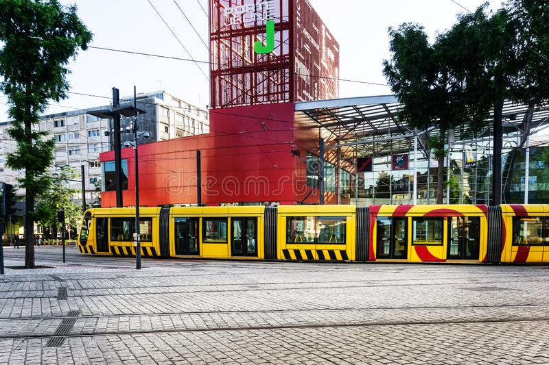 MULHOUSE,FRANCE. Jun 16, 2017: Tramway in downtown Mulhouse city, France stock image