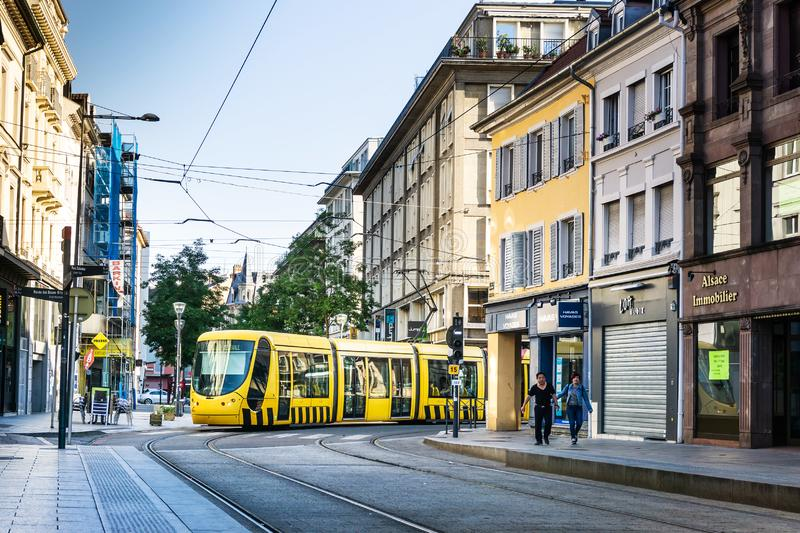 MULHOUSE,FRANCE. Jun 16, 2017: Tramway in downtown Mulhouse city, France stock photography