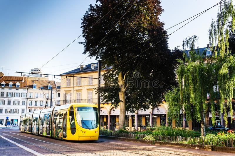 MULHOUSE,FRANCE. Jun 16, 2017: Tramway in downtown Mulhouse city, France stock photo