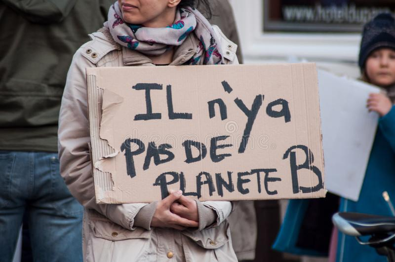 People protesting against the global warming and for save the planet. Mulhouse - France - 16 March 2019 - people protesting against the global warming and for royalty free stock photography