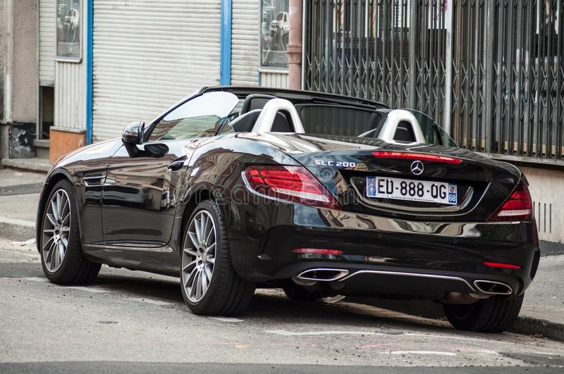 Coupe mercedes Benz SLC 220 car parked in the Street. Mulhouse - France - 27 May 2018 - closeup of coupe mercedes Benz SLC 220 car parked in the Street stock photos