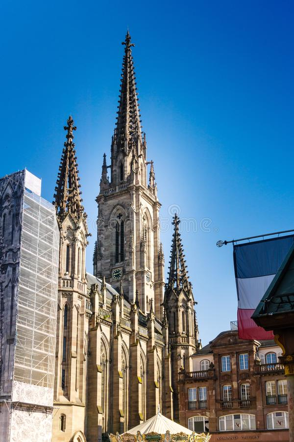 MULHOUSE,FRANCE. Jun 16, 2017: Protestant St. Stephen`s Church is a Calvinist church located in the city of Mulhouse royalty free stock photos