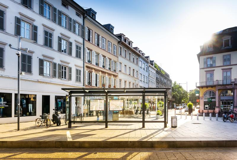 MULHOUSE,FRANCE. Jun 16, 2017: Street view of downtown in Mulhouse city, France stock photos