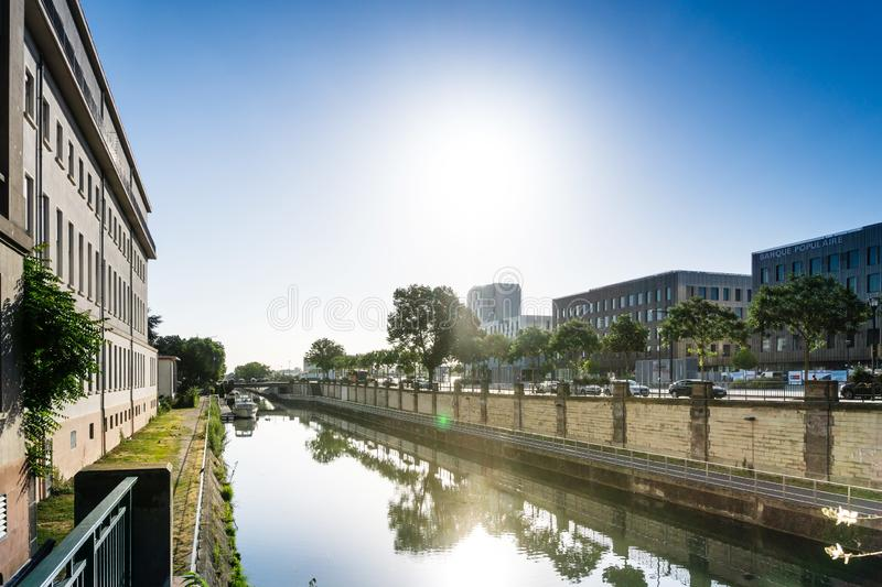 MULHOUSE,FRANCE. Jun 16, 2017: Street view of downtown in Mulhouse city, France royalty free stock photo