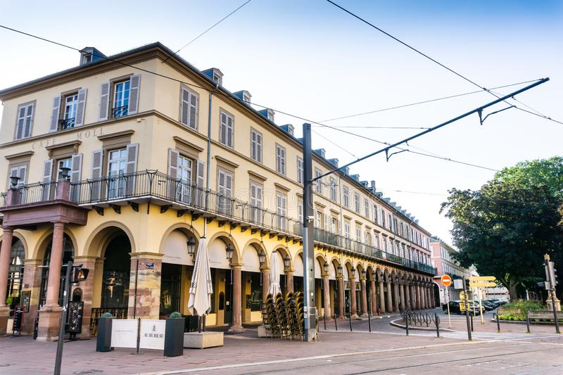 MULHOUSE,FRANCE. Jun 16, 2017: Street view of downtown in Mulhouse city, France royalty free stock photos