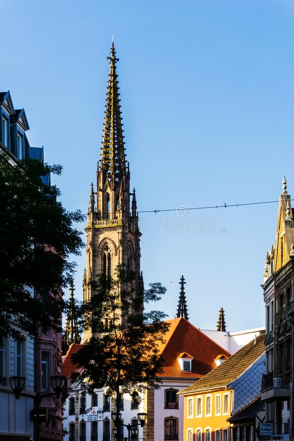 MULHOUSE,FRANCE. Jun 16, 2017: Street view of downtown in Mulhouse city, France stock photo