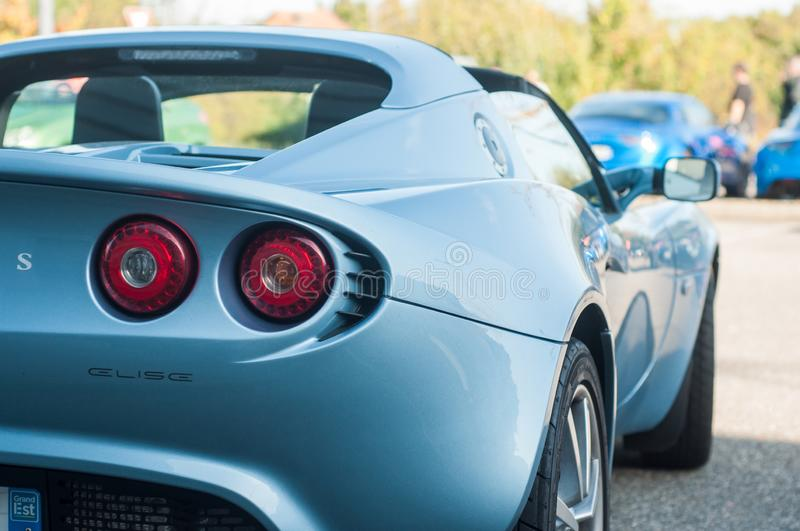 Closeup of Blue lotus Elise parked in the street. Mulhouse - France - 13 October 2019 - Closeup of Blue lotus Elise parked in the street stock photography