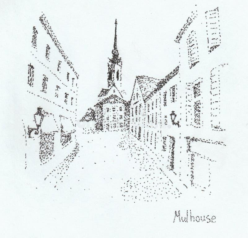 Mulhouse (France). Pen sketch of Mulhouse, France stock photos