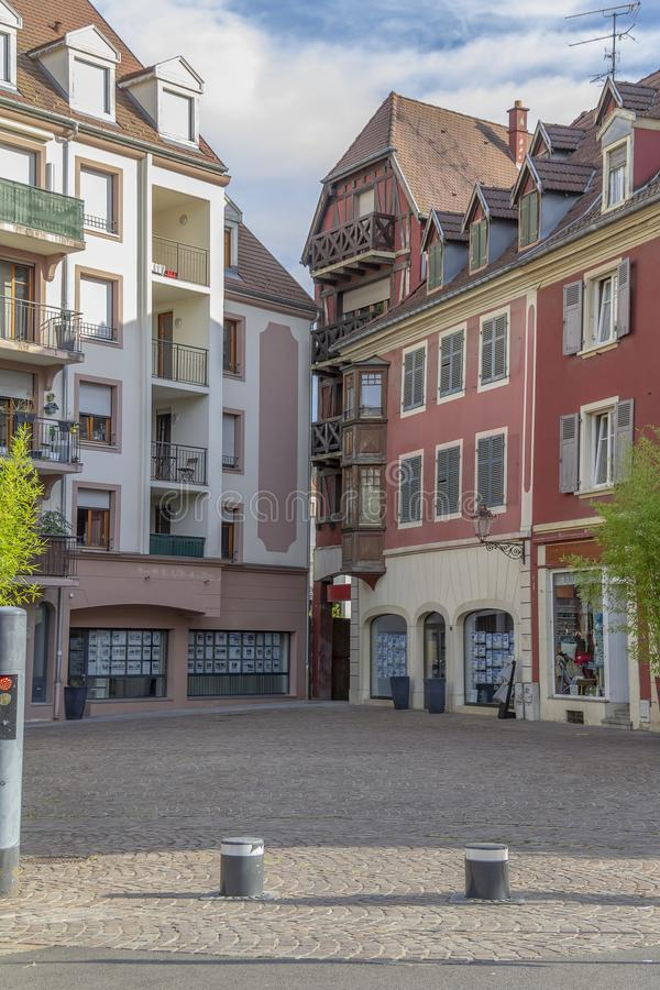 Mulhouse in France. Street view of Mulhouse, a city in the Alsace region in France stock image