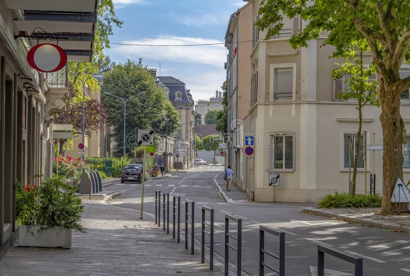 Mulhouse in France. Street view of Mulhouse, a city in the Alsace region in France stock photos