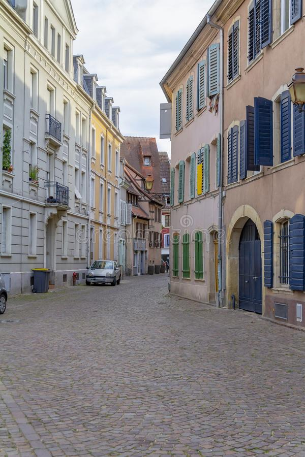 Mulhouse in France. Street view of Mulhouse, a city in the Alsace region in France royalty free stock images