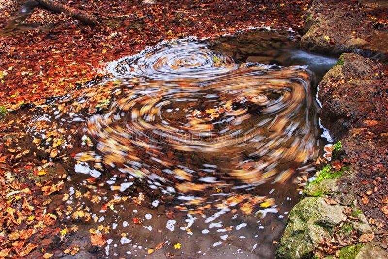 Mulinello in acqua in autunno fotografie stock libere da diritti