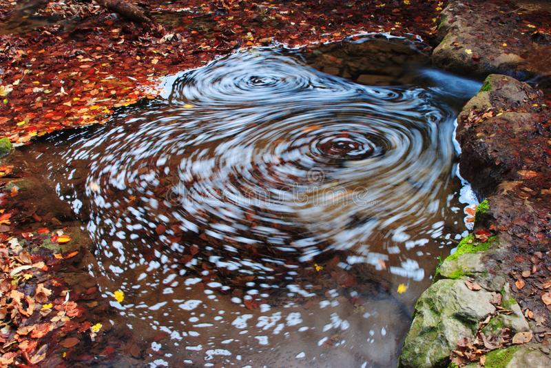 Mulinello in acqua in autunno fotografie stock