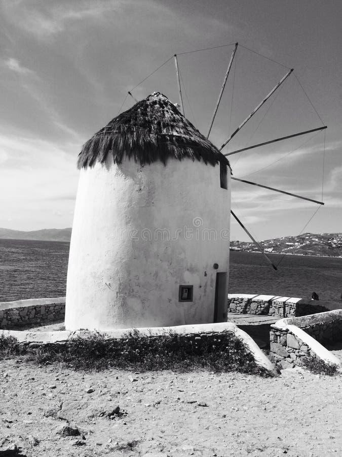 Mulini di vento di Mykonos fotografia stock