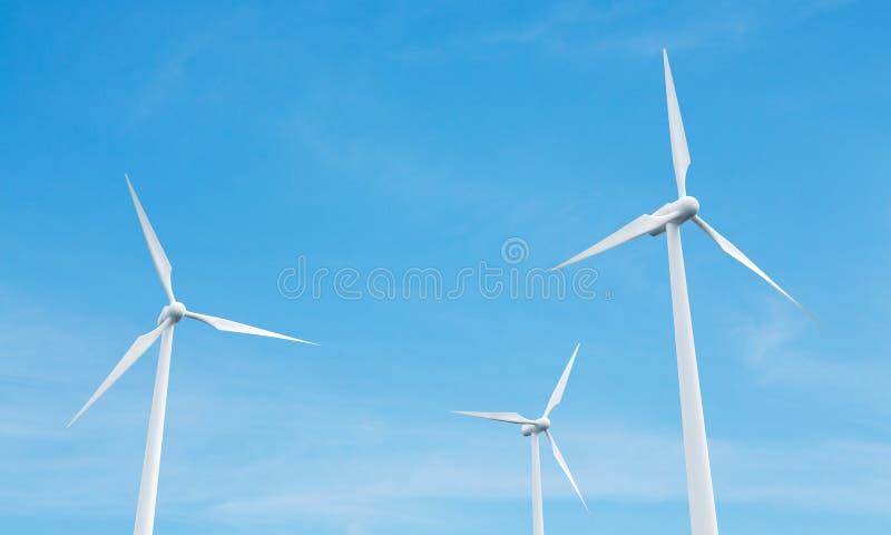 Mulini di vento sul backgrond del cielo illustrazione di stock