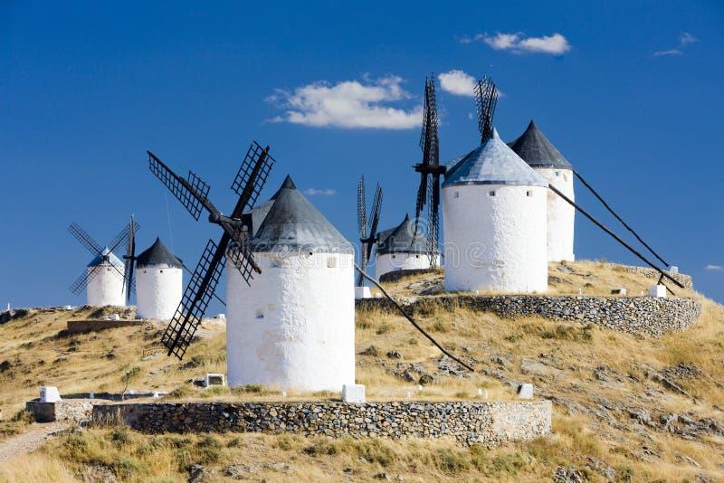 Mulini a vento, Consuegra, Castiglie e Mancie, Spagna immagini stock libere da diritti