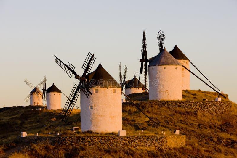 Mulini a vento, Consuegra, Castiglie e Mancie, Spagna fotografia stock