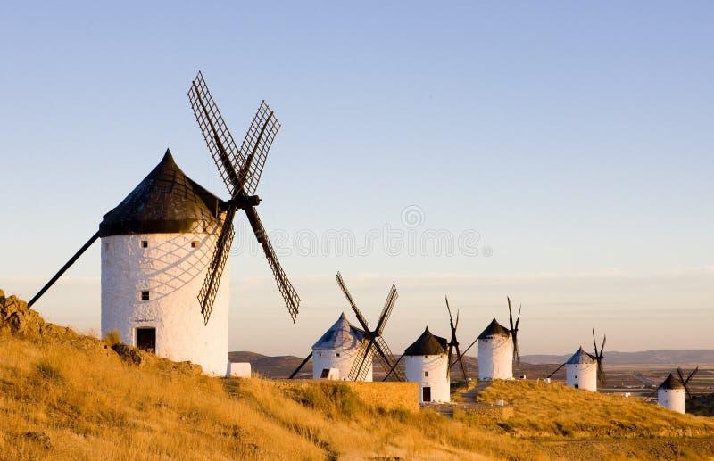 Mulini a vento, Consuegra, Castiglie e Mancie, Spagna fotografia stock libera da diritti