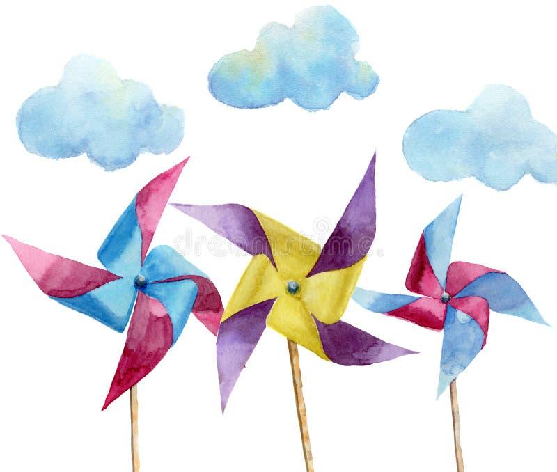 Mulini a vento di carta dell'acquerello con le nuvole Mulino a vento d'annata disegnato a mano con retro progettazione Illustrazi royalty illustrazione gratis