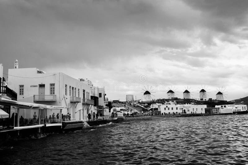 Mulini a vento di Mykonos immagini stock