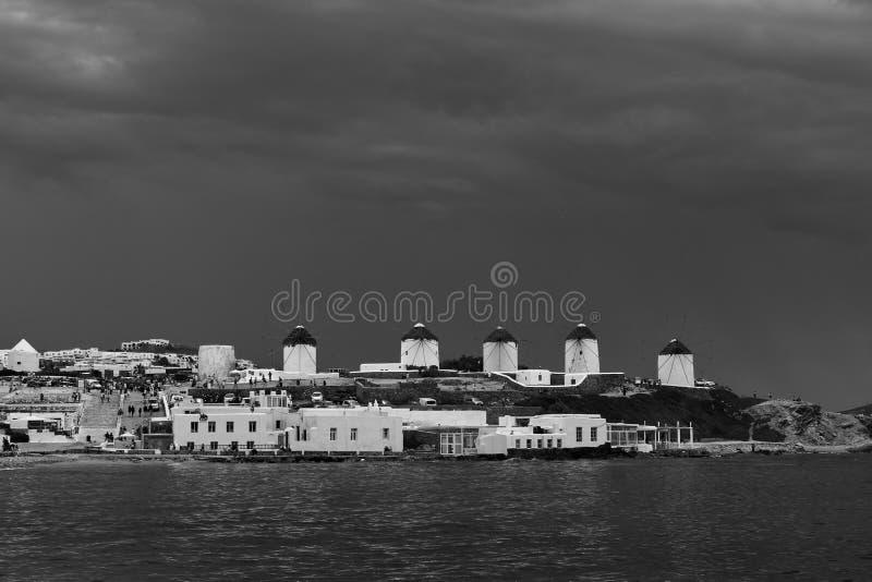 Mulini a vento di Mykonos fotografie stock
