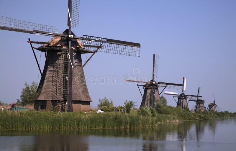 Mulini a vento olandesi in Kinderdijk 8 immagine stock libera da diritti