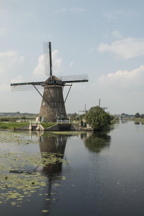 Mulini a vento olandesi nel villaggio di Kinderdijk immagini stock