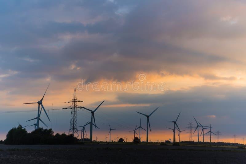 Mulini a vento su verde al tramonto fotografia stock libera da diritti