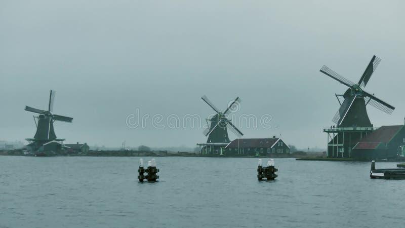 Mulini a vento tradizionali nei Paesi Bassi un giorno piovoso fotografia stock libera da diritti
