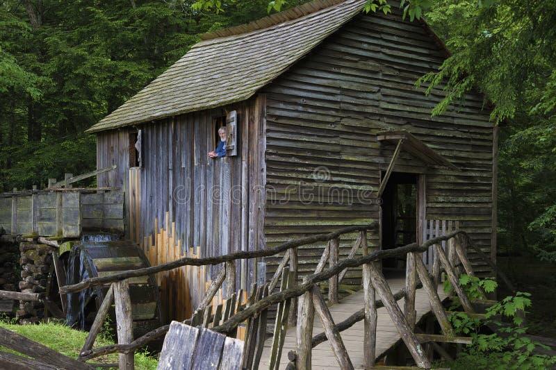 Mulino del grano da macinare in valle della baia di Cades in Tennessee Smoky Mountains fotografia stock