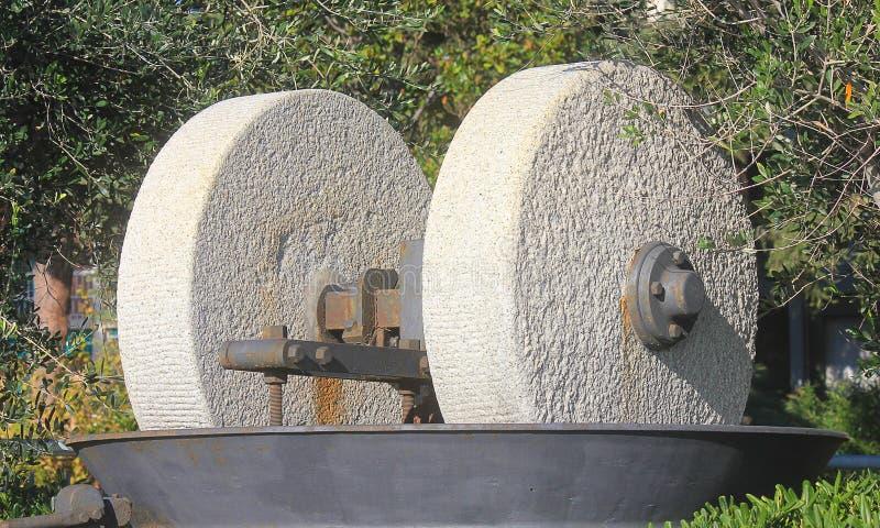 Mulino del nocciolo di oliva per estrazione dell'olio verde oliva fotografia stock