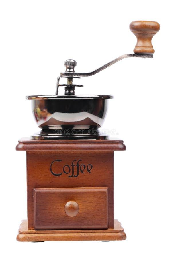 Mulino di caffè d'annata isolato su bianco immagini stock
