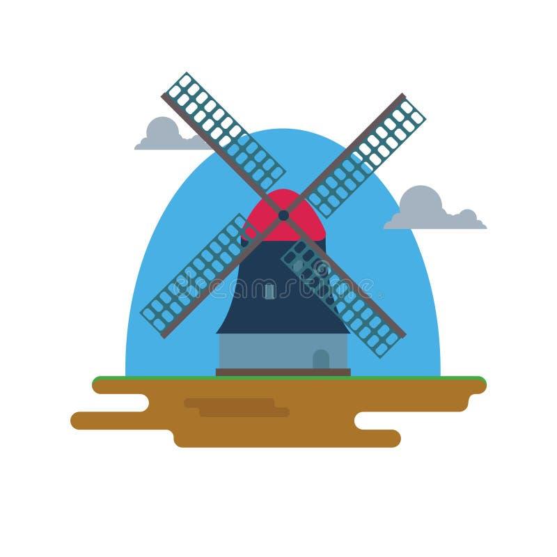 Mulino piano di progettazione isolato illustrazione vettoriale