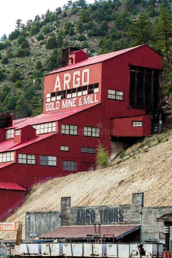 Mulino storico della miniera d'oro di Argo fotografia stock