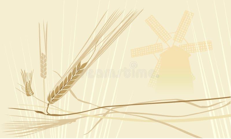 Mulino a vento del whith del fileld del frumento illustrazione vettoriale