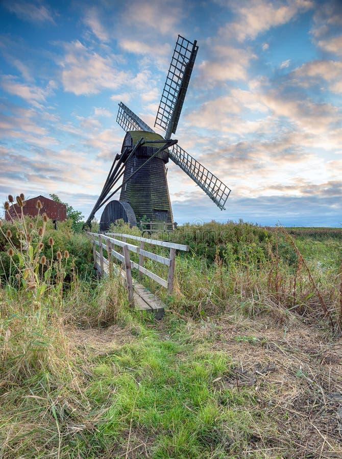 Mulino a vento di Herringfleet in Suffolk fotografie stock libere da diritti