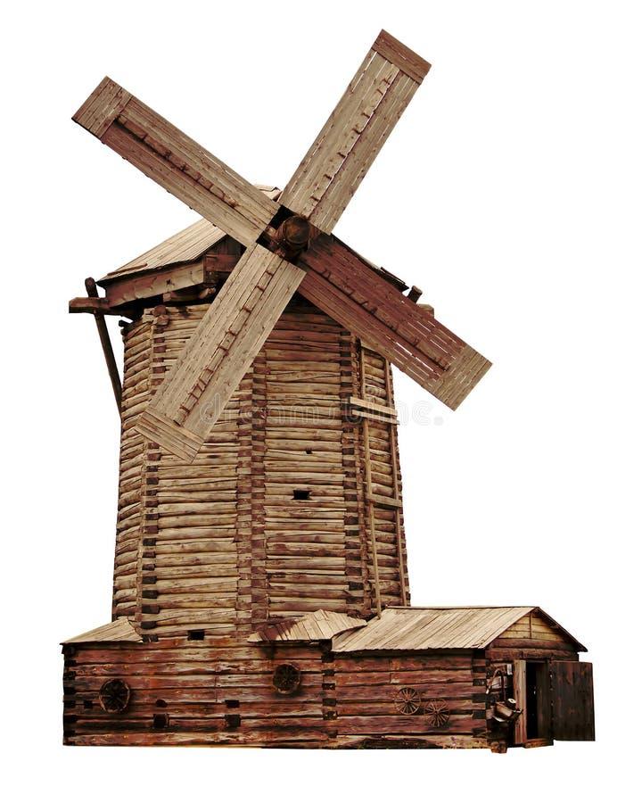 Mulino a vento di legno su un fondo bianco fotografia stock libera da diritti