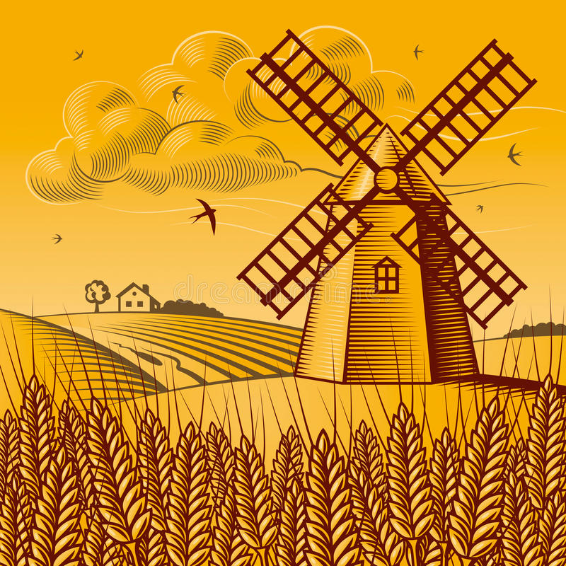 mulino a vento di paesaggio illustrazione vettoriale