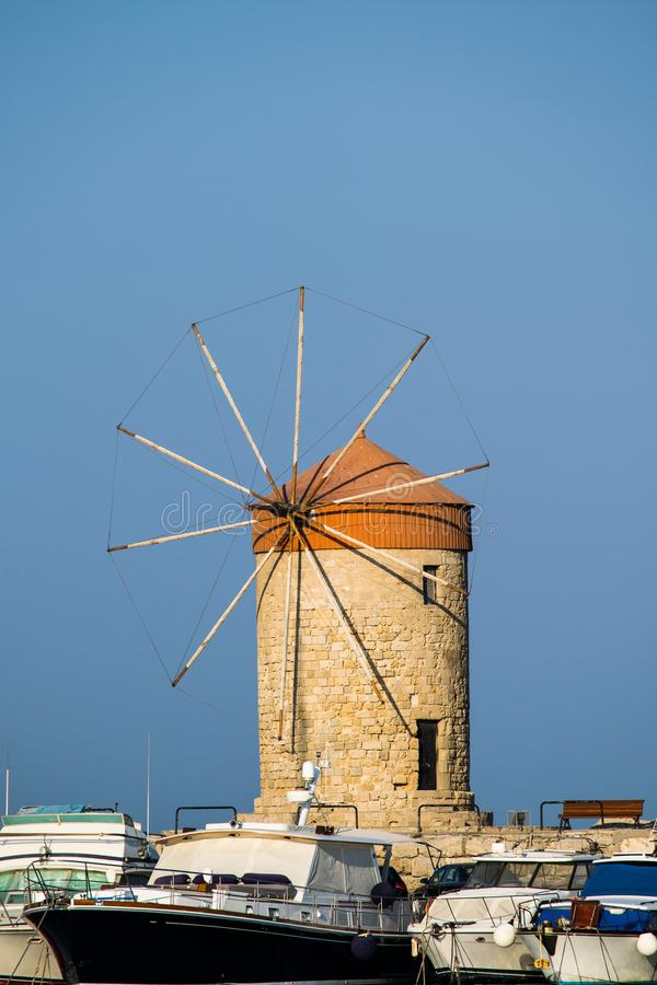Mulino a vento di Rodi fotografie stock libere da diritti
