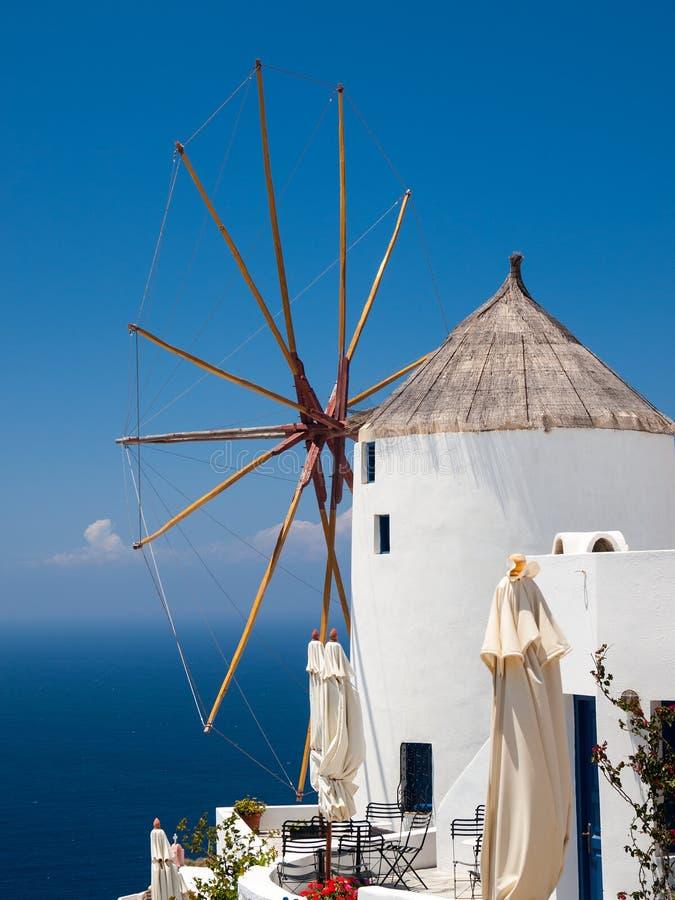 Mulino a vento di Santorini immagine stock