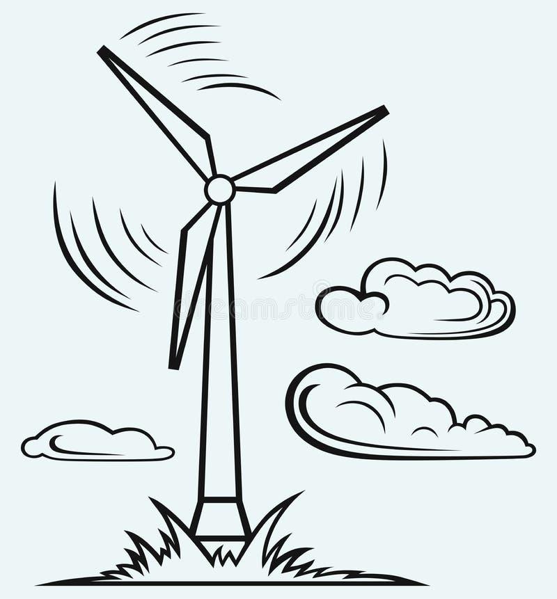 Mulino a vento e nuvole illustrazione vettoriale