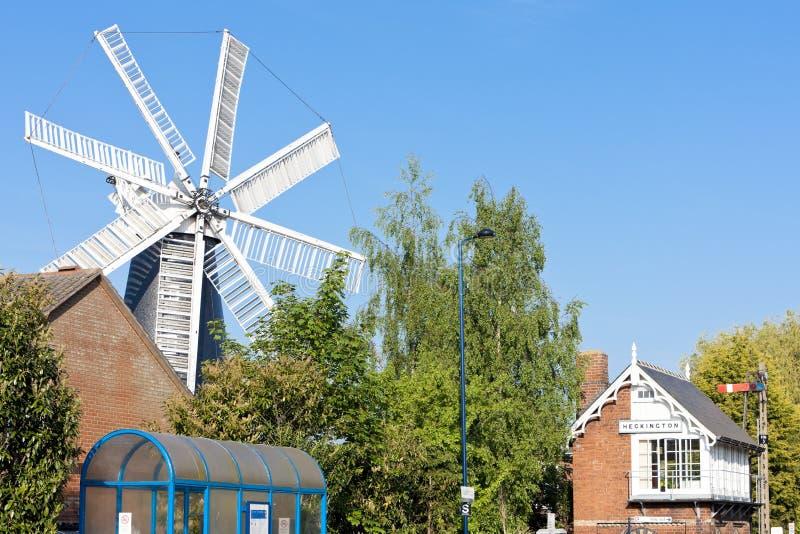 mulino a vento in Heckington, East Midlands, Inghilterra immagine stock