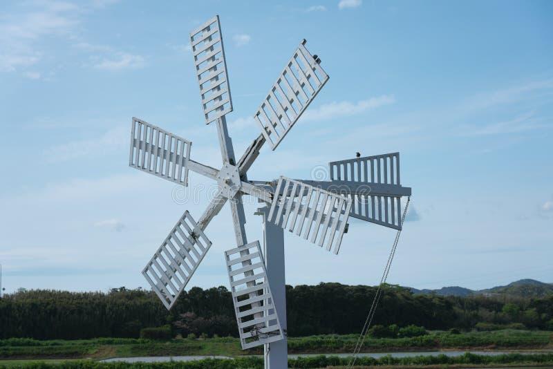 Mulino a vento nel giacimento del riso o risaia a Chiba, Giappone immagine stock libera da diritti