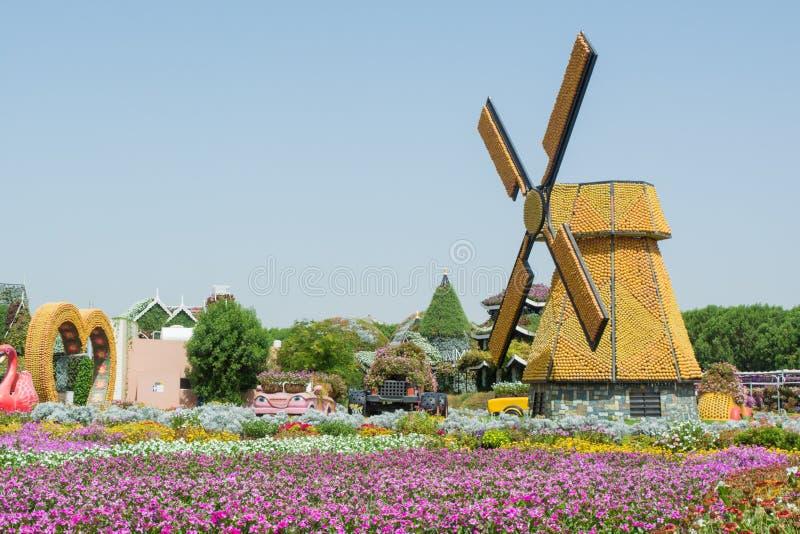 Mulino a vento nel giardino vicino al giacimento di fiore immagine stock libera da diritti