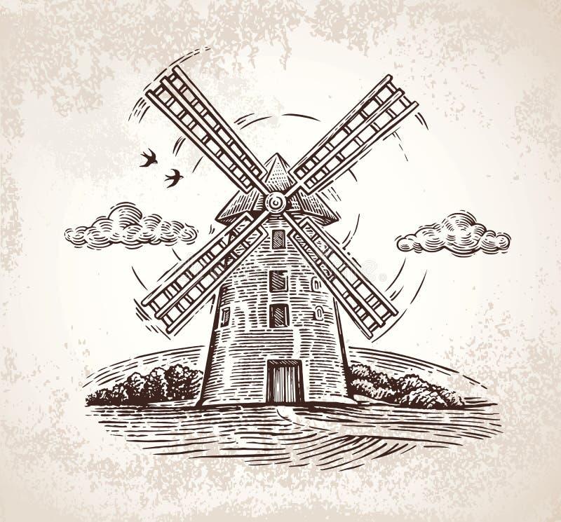 Mulino a vento nello stile grafico illustrazione vettoriale