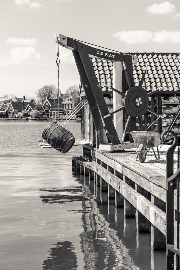 Mulino a vento olandese, campagna di Amsterdam, Paesi Bassi fotografia stock libera da diritti