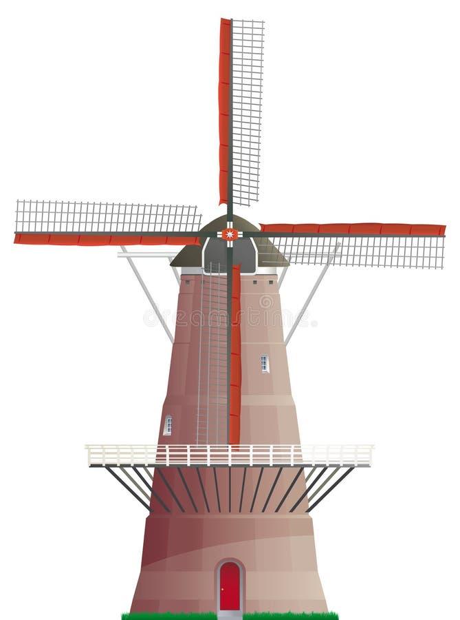 Mulino a vento olandese isolato royalty illustrazione gratis