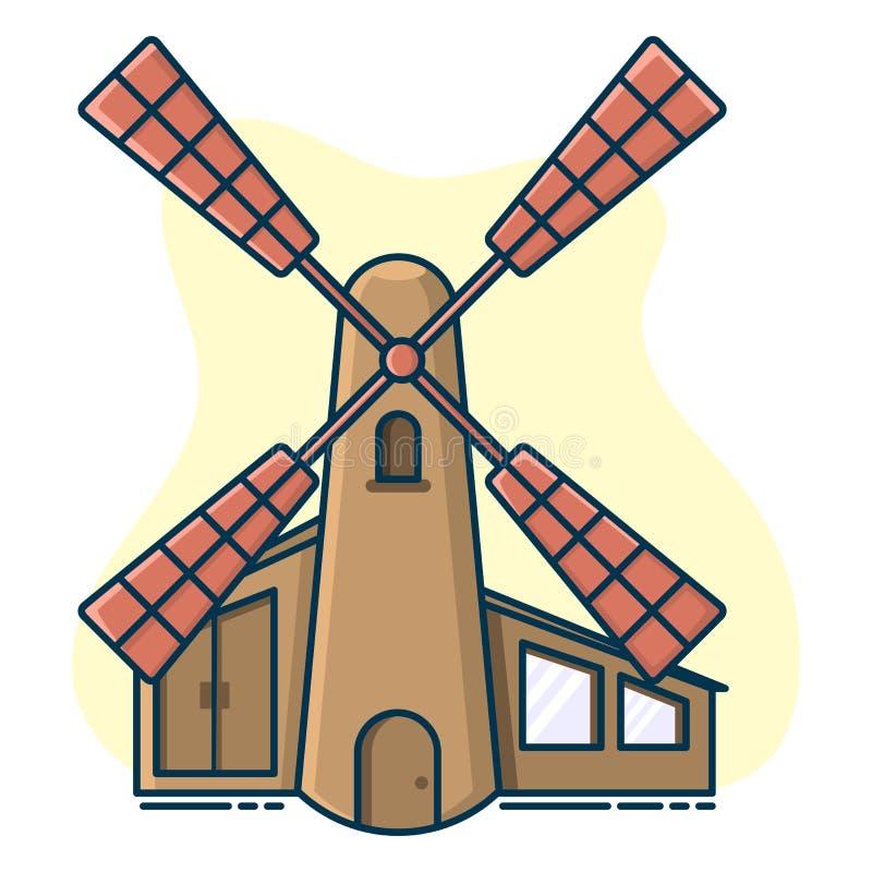 mulino a vento rustico, concetto di produzione del pane e fatto a mano illustrazione di stock