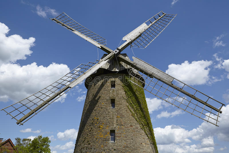 Mulino a vento Seelenfeld (Petershagen, Germania) immagine stock