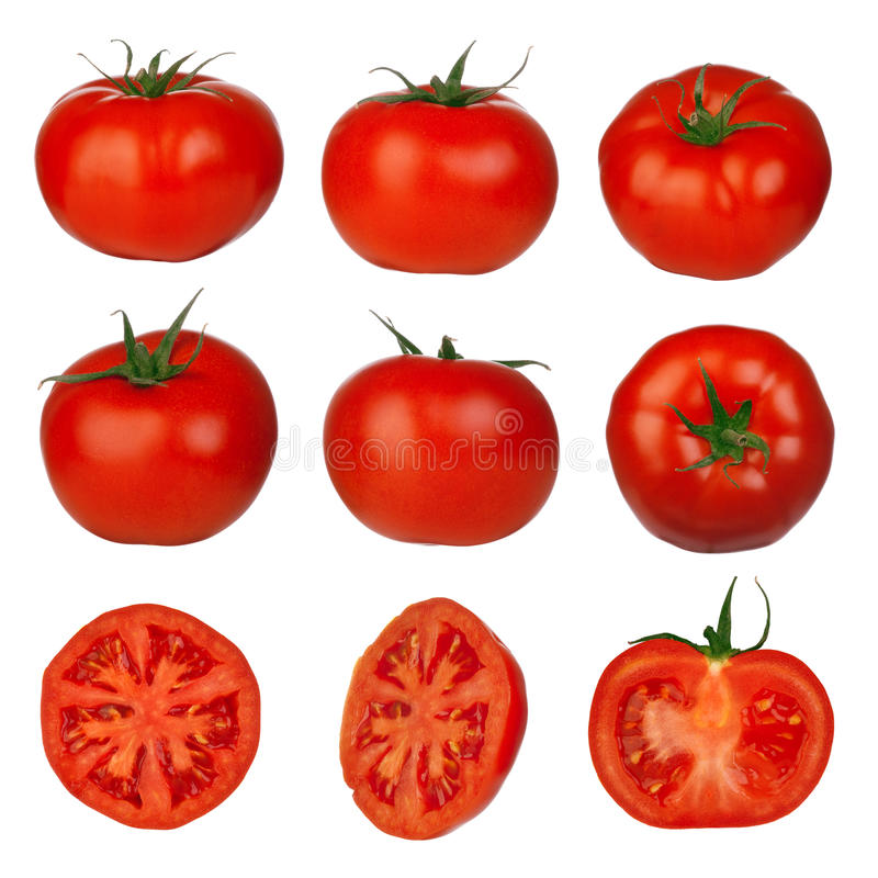 Muliple tomatoes isolated. Placed on white background - very healthy stock images